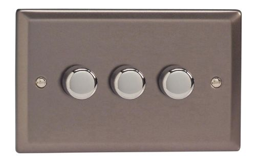 Varilight JRDP303 Classic Pewter 3 Gang 2-Way Push On/Off LED Dimmer 0-120W V-Pro